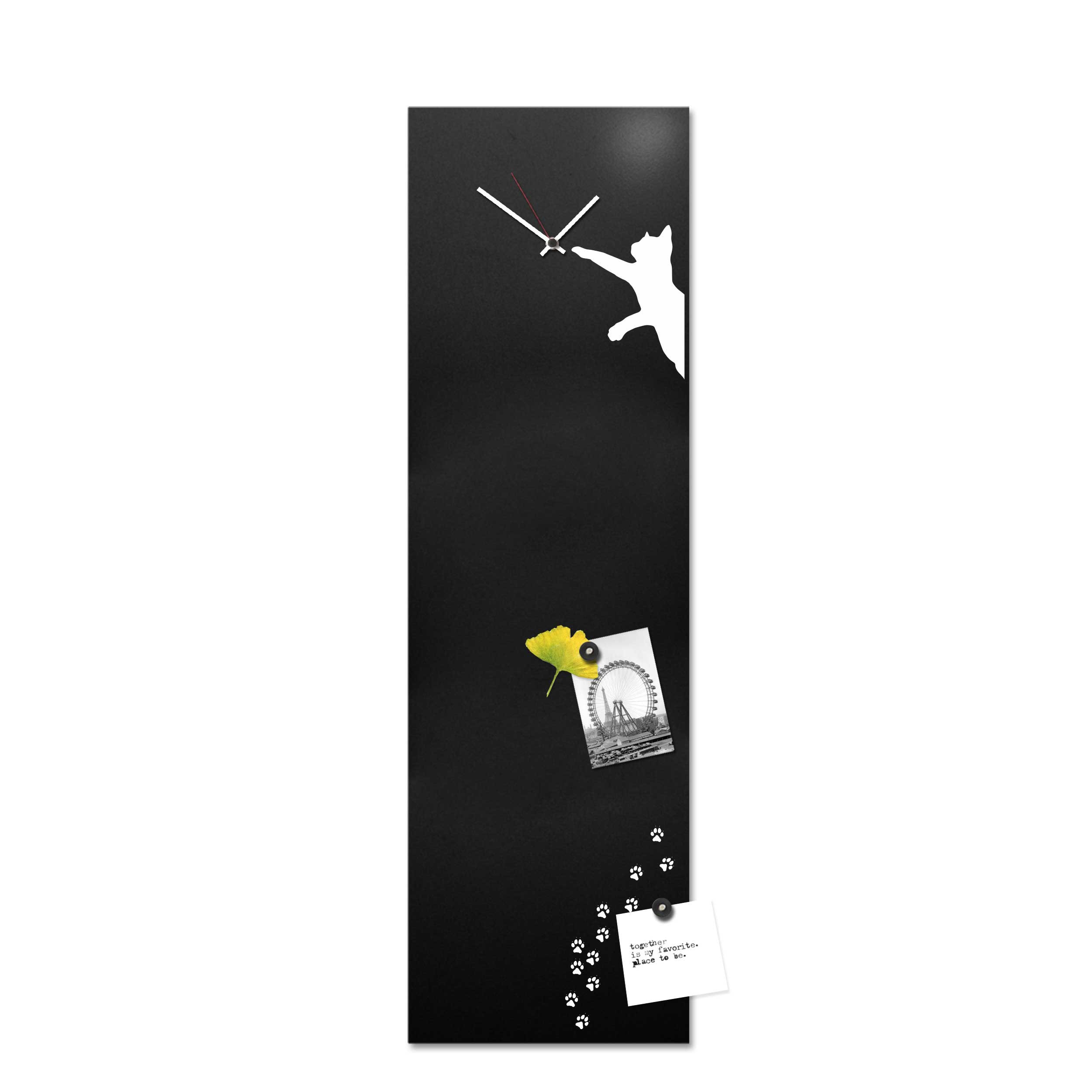 Lavagna Da Parete Cucina design object orologio da parete in metallo e lavagna magnetica e accessori  magnetici gatto