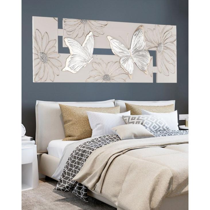 Pintdecor quadro moderno farfalle argento 197x67 - Centrotavola argento moderno ...