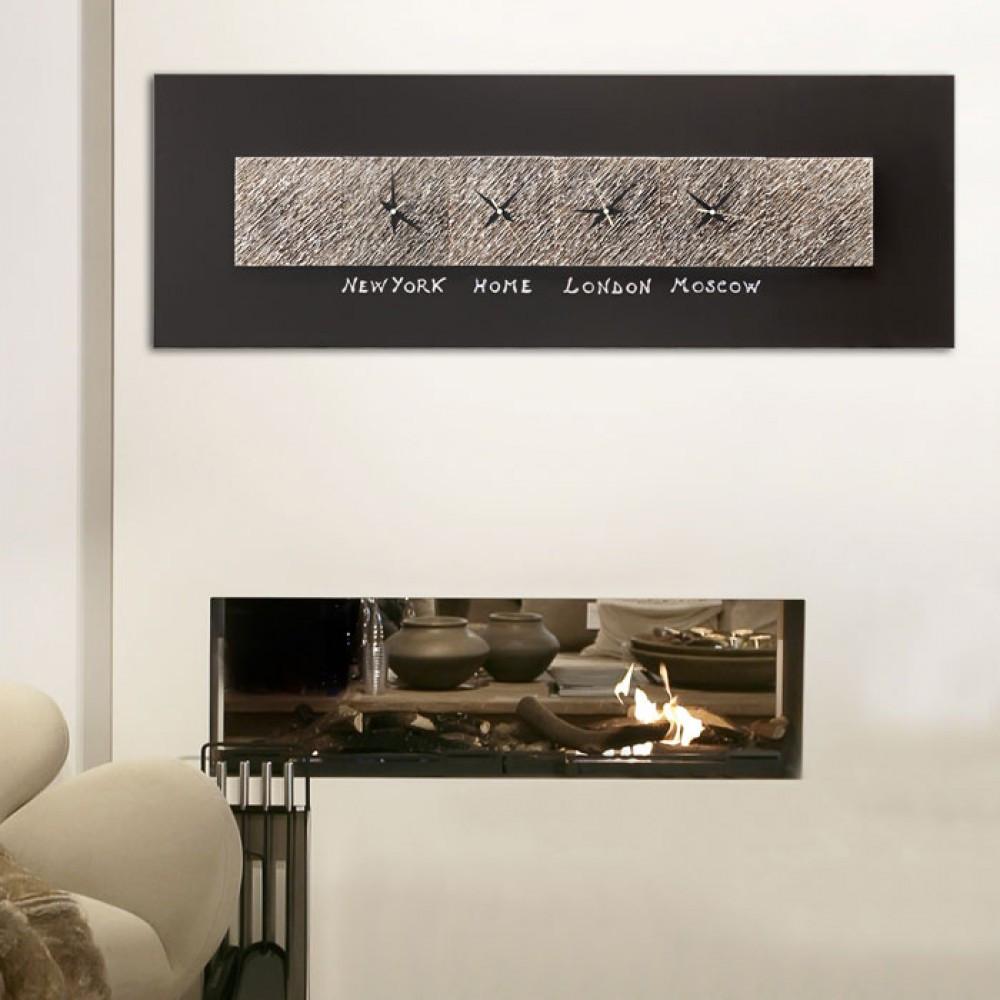 Pintdecor minuti secondi orologio da parete con foglia argento for Orologi a parete da cucina