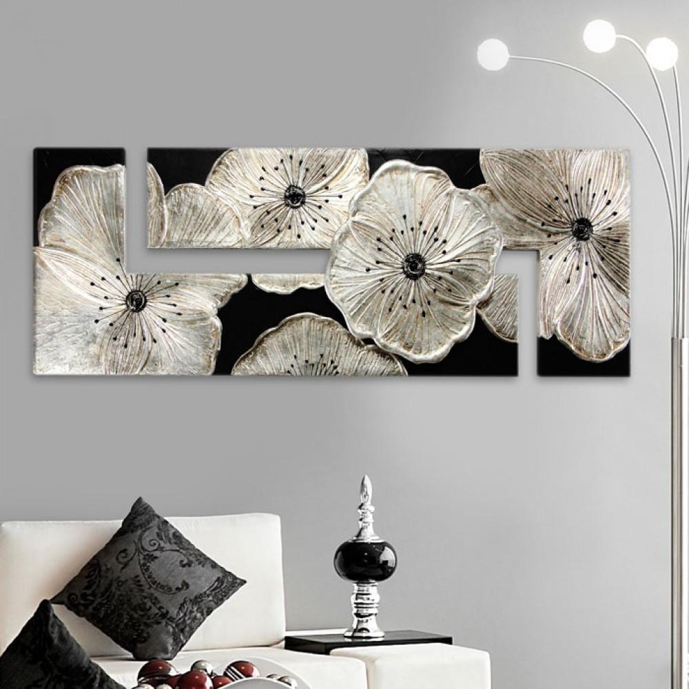 Pintdecor petunia quadro con fiori moderno nero e argento - Centrotavola argento moderno ...