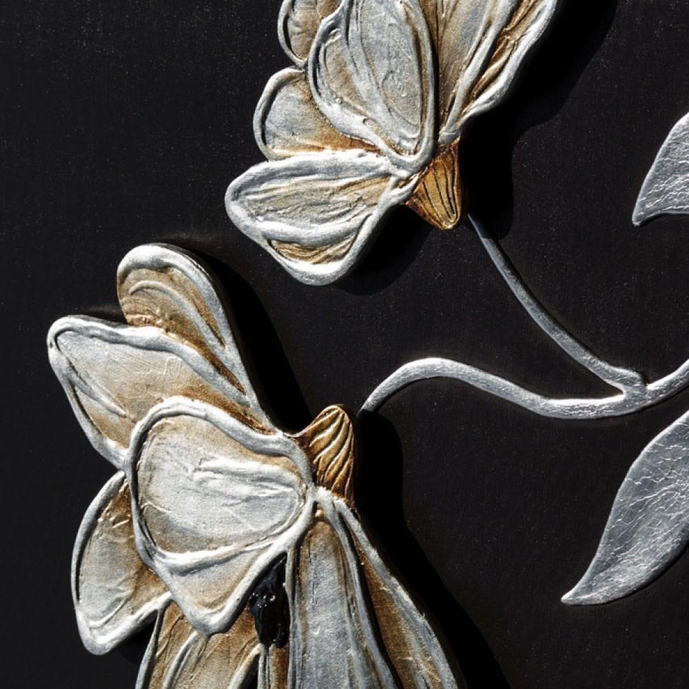 Pintdecor fiori lucenti quadro con fiori oro e argento for Quadri in argento