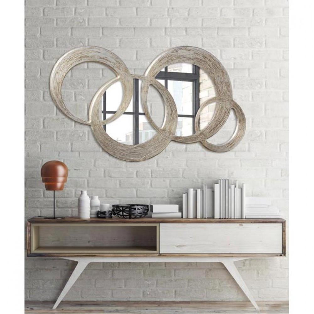 Pintdecor circles specchio da parete in legno color - Appendiabiti da parete con specchio ...