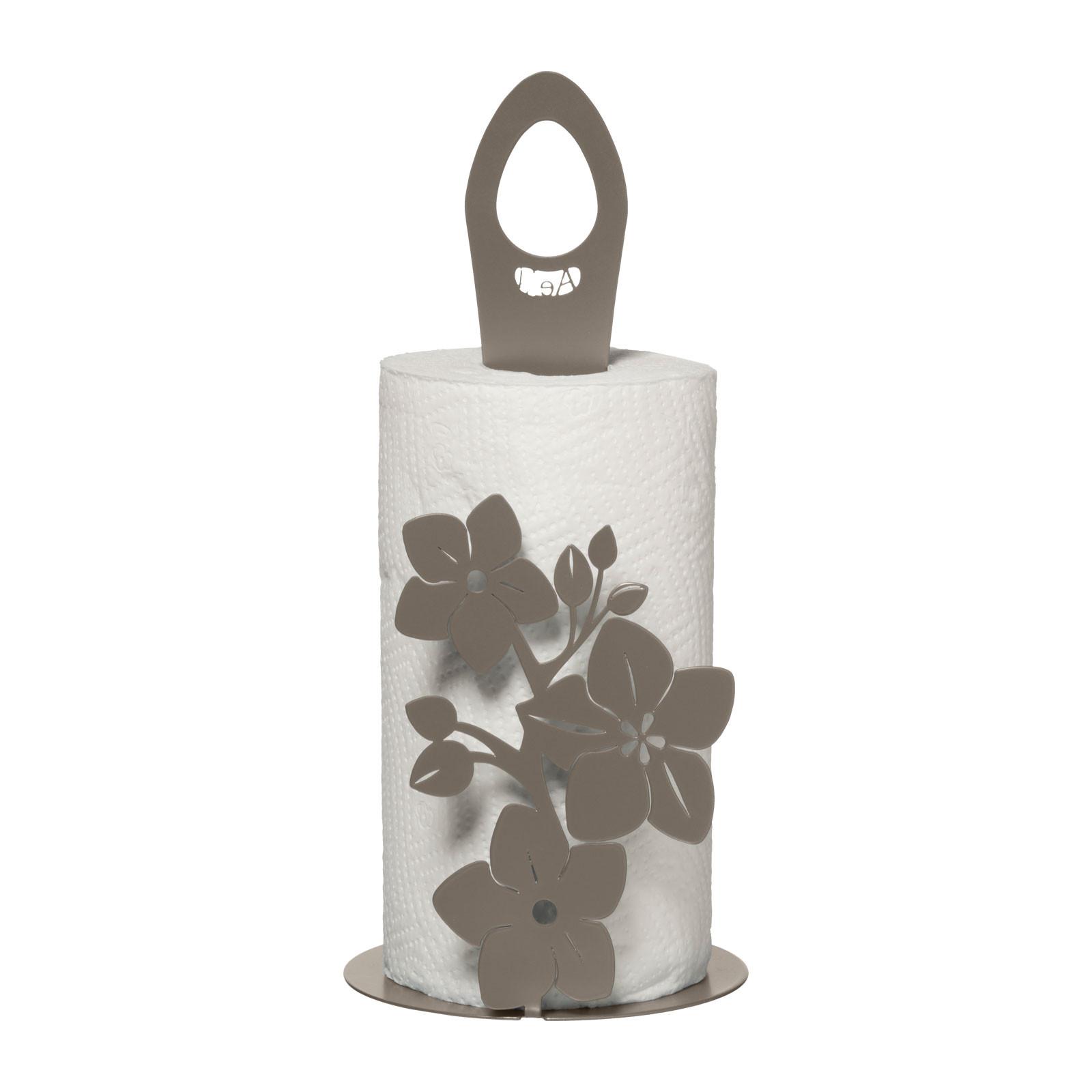Porta rotolo cucina floreale in metallo verde